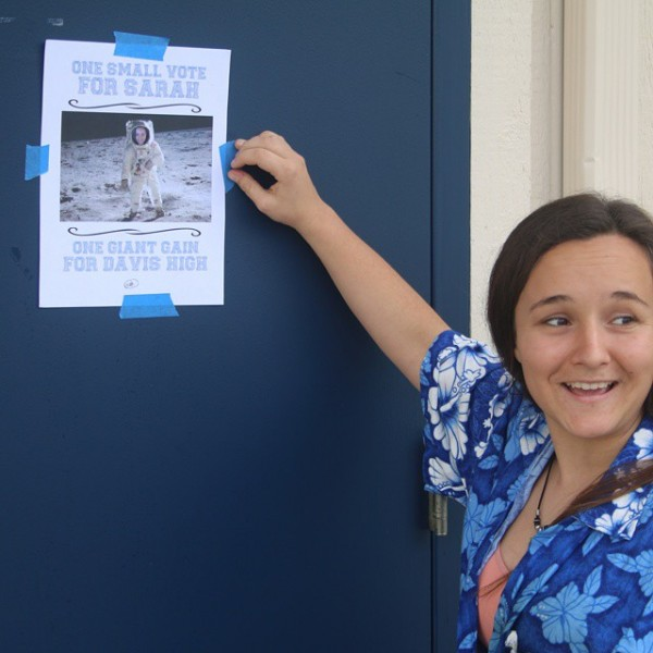 Junior Sarah ZaragozaSmith puts up posters for her campaign forhellip