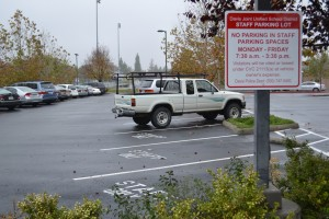 The increase of staff only parking spaces makes parking for students more difficult.