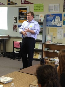 UC Davis professor Marc Facciotti lectures to DHS students about synthetic biology in the Career Center.