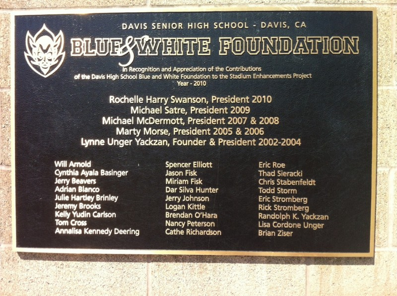 This placard is placed in front of the football stadium at Davis High.