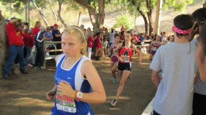 Davis' Maggie McMannis runs in her race at the Mt. Sac meet. She finished in 25th place.