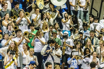 Pep band practiced on Oct. 9 with the freshmen to perform on during the parade and homecoming game on Oct. 11. Students in pep band hope to support the Devils and show school spirit.