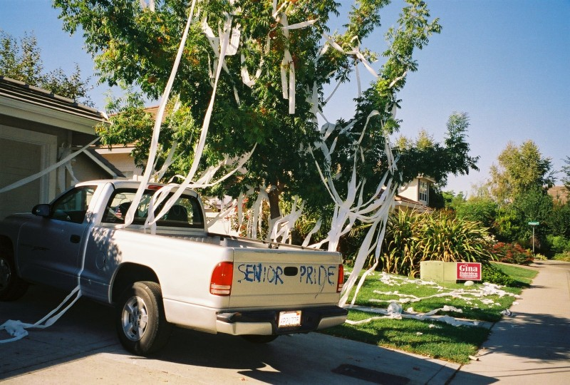 During homecoming week, it has been a Davis High tradition for cheerleaders and female athletes to teepee football players homes. This prank is a unique way of showing school spirit.