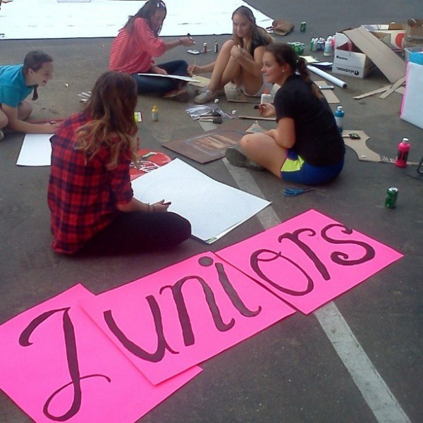 Float building is a tradition Davis High celebrates during homecoming week Oct. 7-11. The Juniors are working on their 1980s themed float for the parade on Oct. 11.