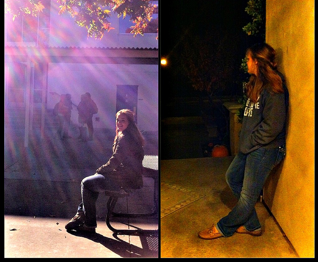 Davis High sophomore Emily Albertson sits at a table in the quad during snack break. Albertson leans back against a wall outside her home as she gazes into the darkness. Daylight savings can be a bit difficult to adjust.