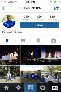 Principal Brown's Instagram feed is full of pictures of students and staff at various Davis High events.