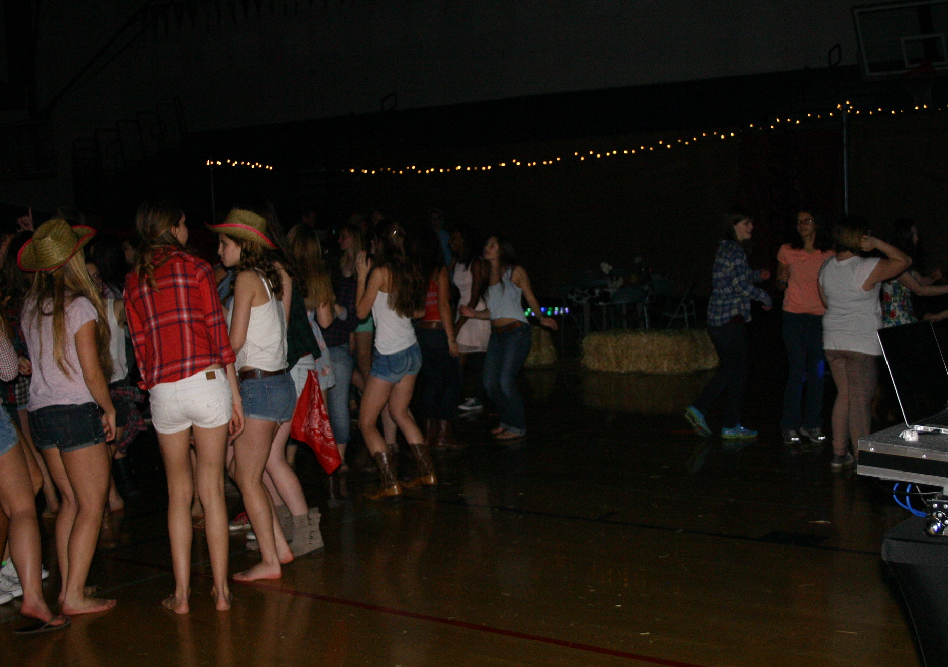 "Students dance at the ""Barnyard Bash"" dance on Feb. 21. The free dance had a successful turnout, perhaps due to the free food and photo booth. Photo by Sarah Garrett."
