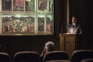 Stokes (GEORGE CLOONEY, right) presents his case for Monuments protection to President Roosevelt (MIKE DALTON) in Columbia Pictures' THE MONUMENTS MEN.
