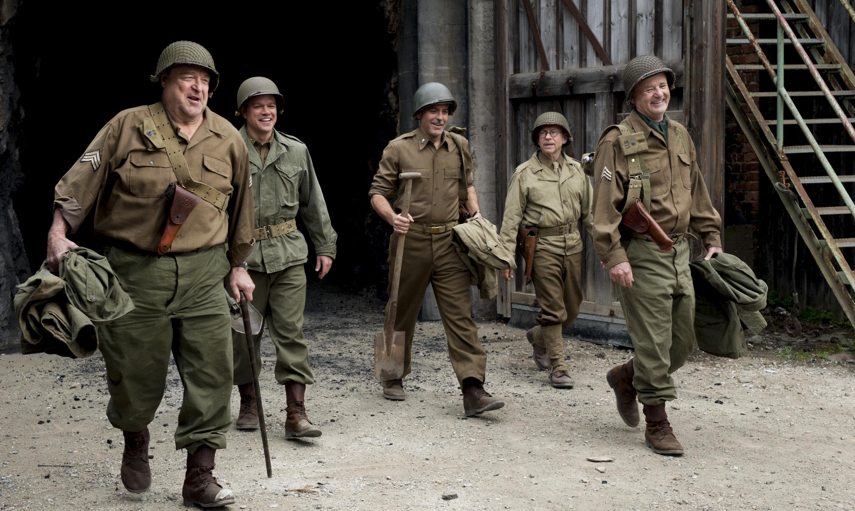 (l to r) John Goodman, Matt Damon, George Clooney, Bob Balaban and Bill Murray in Columbia Pictures'  THE MONUMENTS MEN.