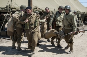 (l to r) Jean Dujardin, Bob Balaban, Hugh Bonneville, Bill Murray and George Clooney star in Columbia Pictures' THE MONUMENTS MEN.