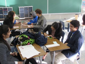 While some students got ready for their speeches by writing notecards, others played card games or did schoolwork.