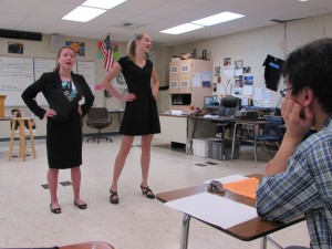 "Sophomores Kate Gieschen and Zoe Vikstrom perform ""Max and Cindy,"" by James Sweeney for their speech tournament."