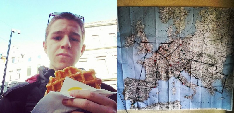 Courtesy photo: (Left) Unger enjoying some Belgian Waffles in Brussels during his gap year in Europe. (Right)Mark and Carson carefully planned out their itinerary before heading to Europe.