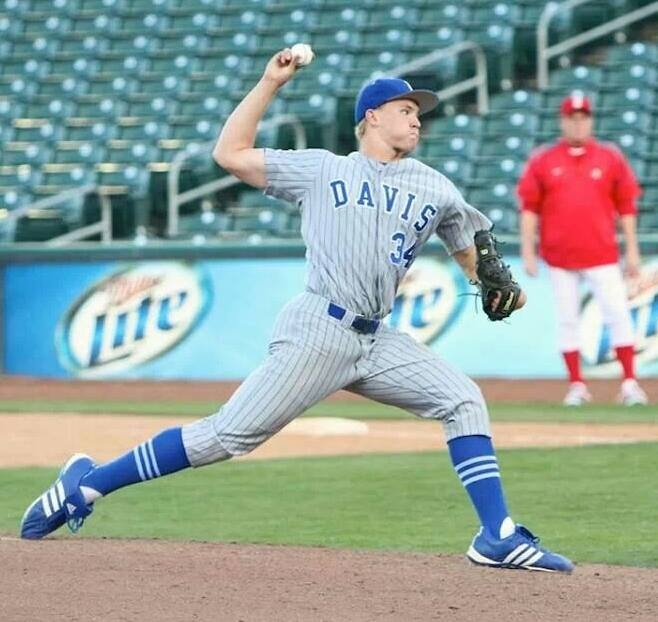 Trask in his davis uniform as he pitches for his team. Courtesy photo from Trask.