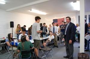 Congressman John Garamendi addresses students and interns helping out at his campaign headquarters on Tuesday, June 3. Courtesy Photo Garamendi for Congress
