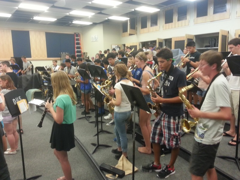 The Pep Band practices in preparation for its first performance of the year, which will be at the home football game on Sept. 6.