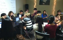 Students from Davis, Da Vinci, and Woodland make calls and email people for Garamendi's reelection. Photo by Ashley Han.