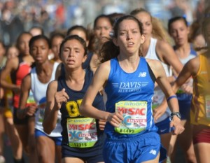Junior Fiona O'Keeffe leads the pack in the women's varsity sweepstakes race at this year's Mt. SAC Cross Country Invitational. Her winning time was 16:28, the fourth fastest girls' time ever run on the 67-year-old course.