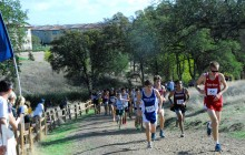 Junior Samuel Ruhe powers up a hill.  Ruhe finished ninth in the men's JV race, helping DHS take first.