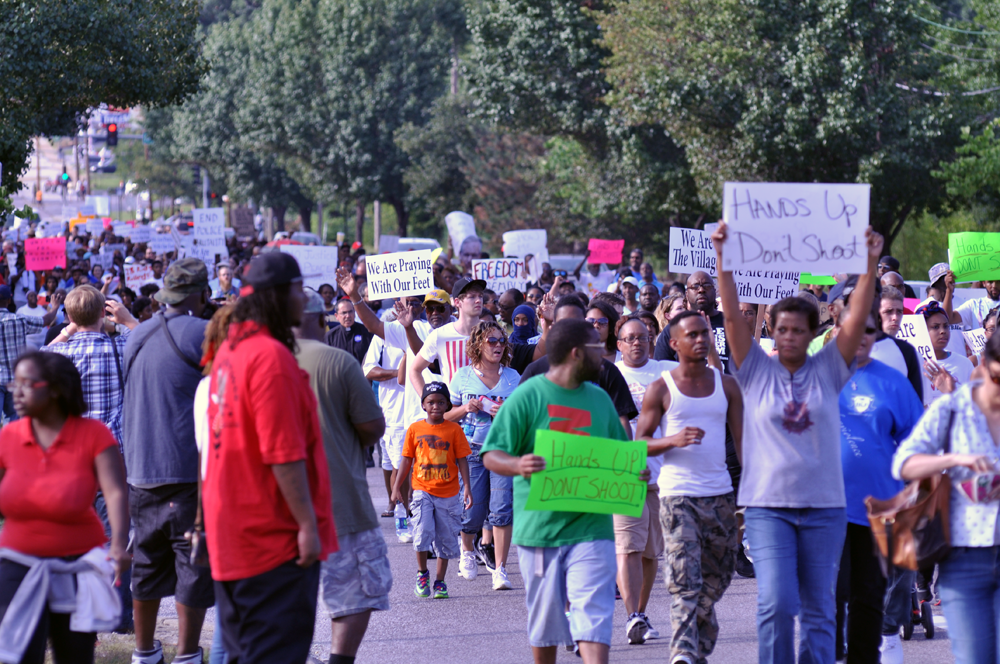 Protests at Ferguson on August 14. Photo via Wikimedia Commons.