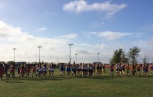 The women's varsity race gets underway at  the Sac-Joaquin Section Championships on Saturday, Nov. 15. Blue Devil junior Fiona O'Keeffe won the race; her third individual title in three years.