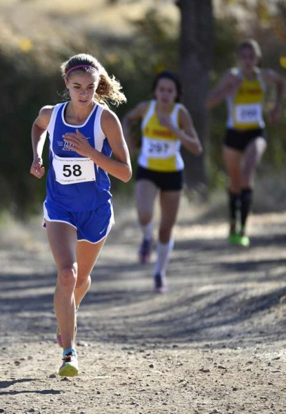 Sophomore Sofia Castiglioni runs to a 3rd place finish at last year's Sac-Joaquin Section Championships