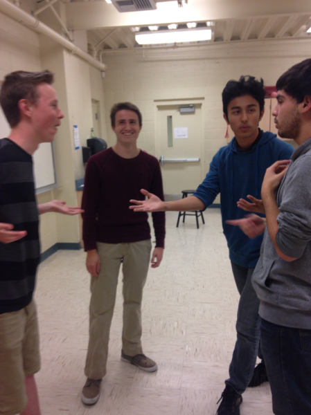 Acapella group Ethnic Diversity plans their performance during a last minute rehearsal.