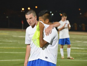 DHS soccer players cope after losing the section championship game 2-1 to Oak Ridge. An incident during the game resulted in the later suspension of a number of DHS players.
