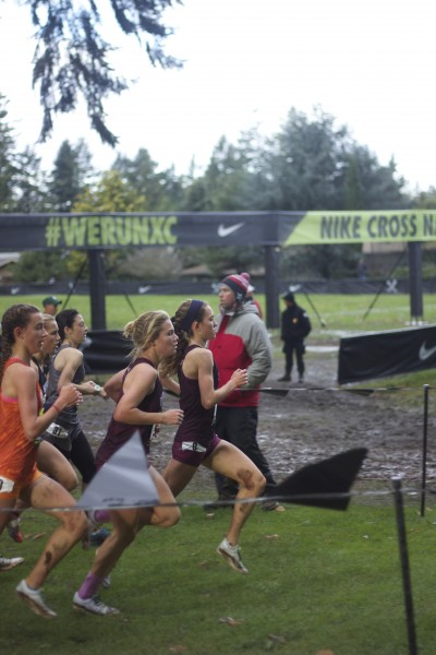 O'Keeffe and Williams lead the race during the first mile.