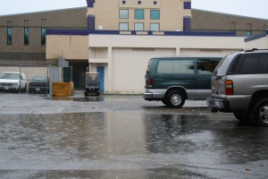 The parking area near the O buildings was flooded on Dec. 11