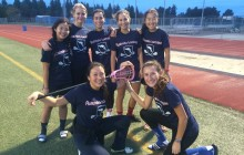 Team Australia (with members Marissa Wong, Julia Zabala, Chiara Armstrong, Isabel Realyvasquez, Rebeccah Kang, Isabella Babich, and Kelly Zheng) poses for an after-practice picture during the women's lacrosse preseason Winter Games.  Courtesy of Marissa Wong.