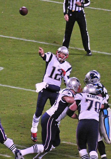 "New England Patriots quarterback Tom Brady is  under scrutiny after ""Deflategate.""  Courtesy photo by Guy  Harbert via Creative Commons"