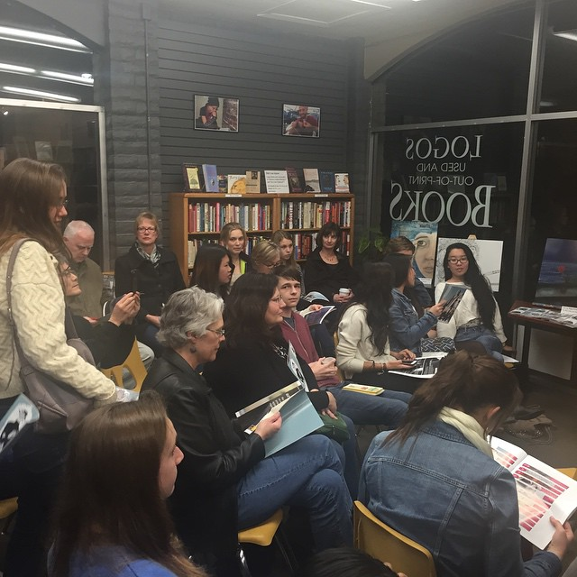 Large crowd at the Spoke launch at Logos Books! (Photo: Z. Hertz)