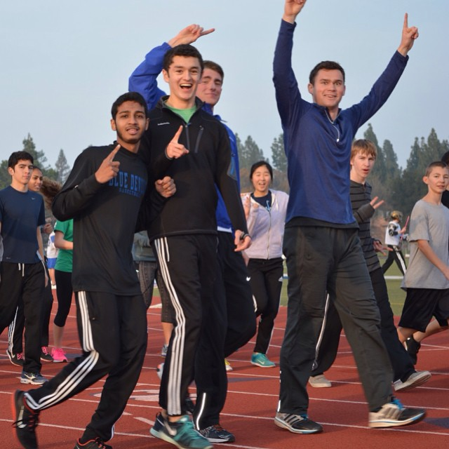 Seniors Adil Abbuthalha, Juan Pablo Almanza-Soto, James Broaddus, and Alex McIntyre show off their track pride! Come work out with the track pre-season team Monday through Thursdays 4:00pm to 5:30pm. (Photo: C. Bold)