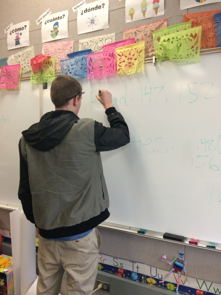 Substitute James Baker instructs Mrs. Bernadac's students while she is absent.