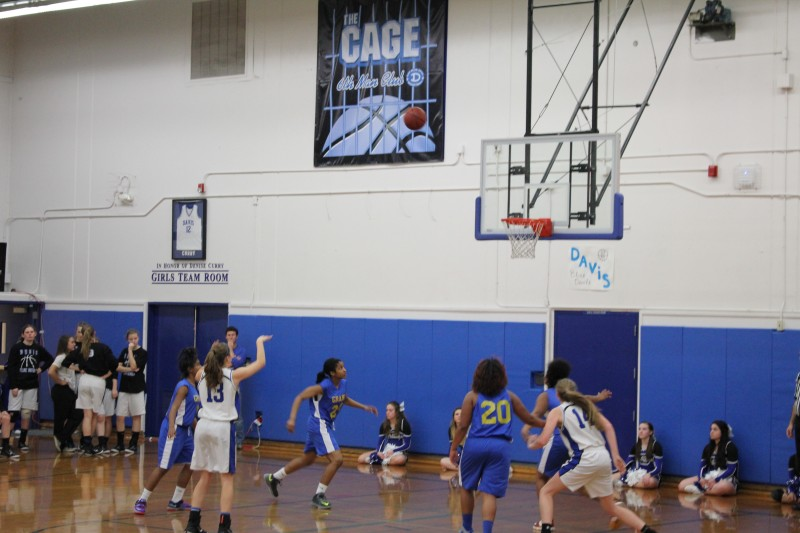 Sophomore Delaney Davis scores a free throw in the Lady Blue Devils' 52-7 victory over Grant.