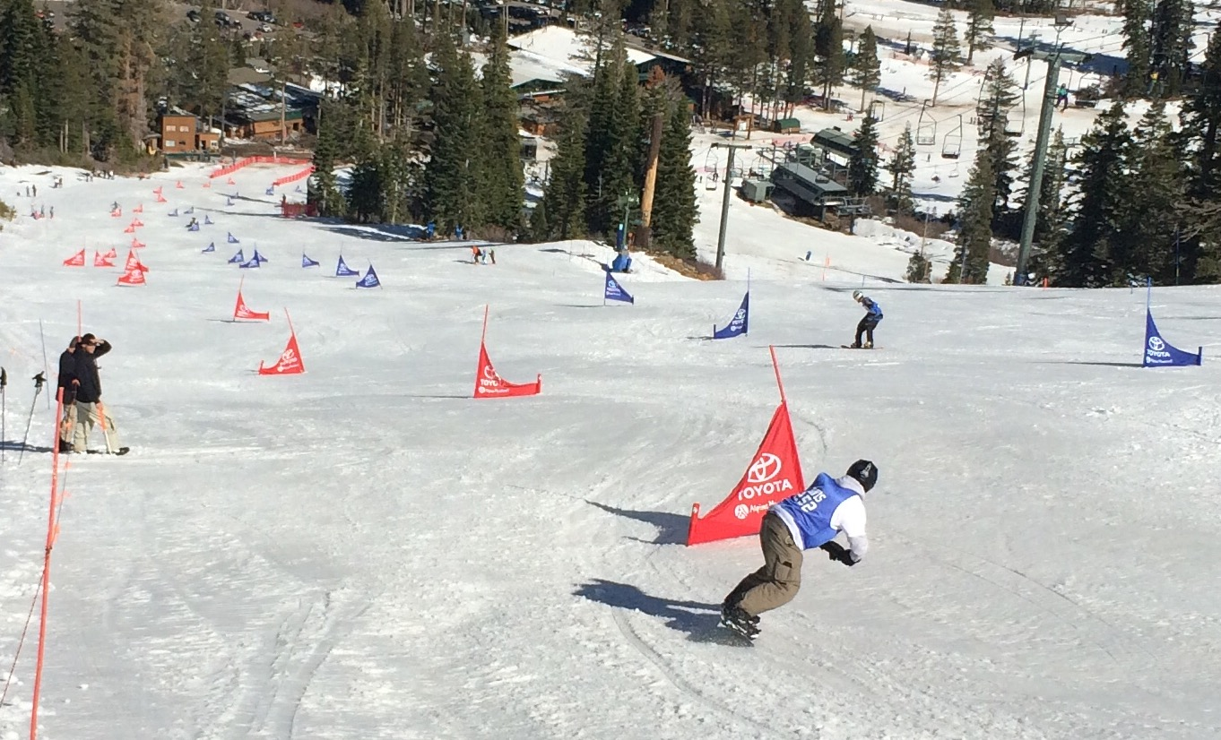 Senior Dean Boswell races down the giant slalom course at Alpine Meadows Ski Resort in Tahoe. Boswell finished 9th overall in this race, helping push the snowboard team to a second-place finish in league.