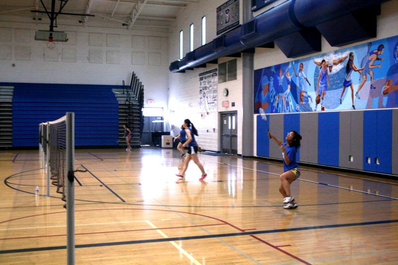 Senior Van Hsieh prepares to return a shot. DHS's women's varsity badminton team defeated Will C. Wood with a score of 15-0 on March 16 at the home game.