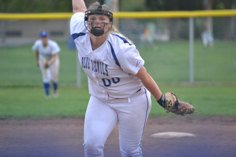 Sophomore Ashley Dufresne pitches during the later innings of the game. Dufresne struck out many St. Francis batters