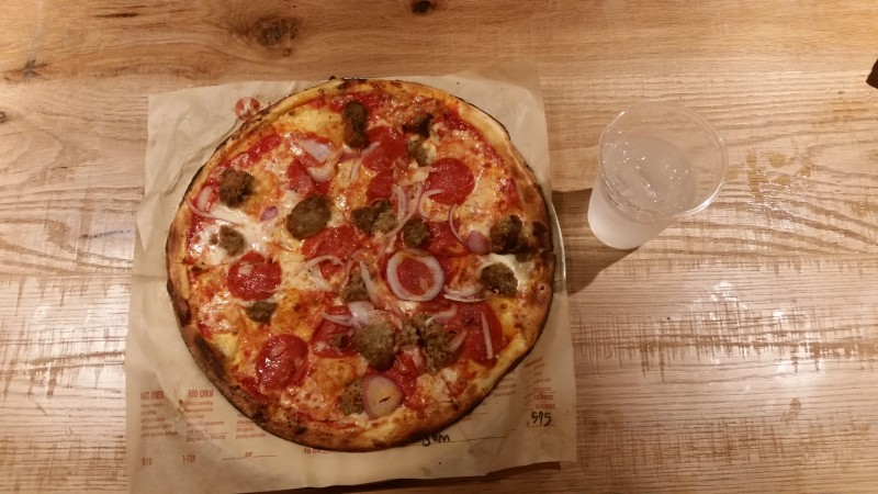 Meat Eater is one of the eight signature pizzas Blaze  Pizza offers.