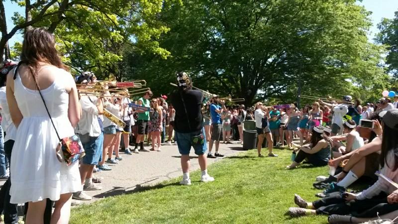 UC Davis band members play at Picnic Day.