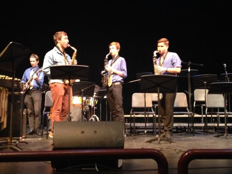 Members of the Davis High Jazz Band perform with the Brubeck Institute Jazz Quartet at the Brunelle  Performance Hall.