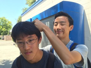 School is one of the places you may meet people you don't like. Junior Peter Zhu annoys ____ by pulling his hair.