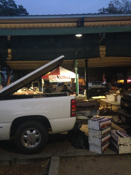 Trucks are driven in every Wednesday and Saturday to deliver fruit to the Farmers Market.