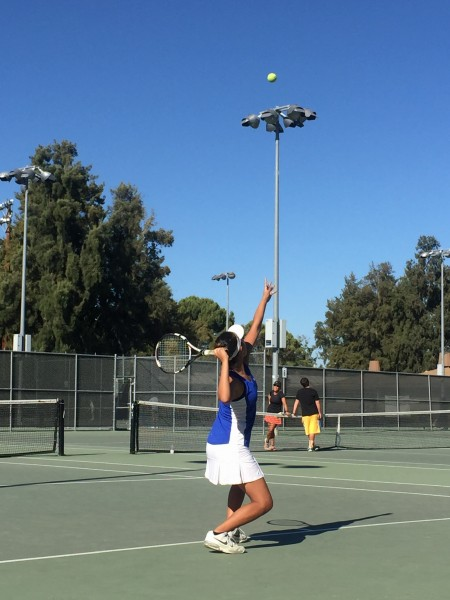 Junior Amy Fang gets ready for a serve in the Blue Devils' 6-3 win against Pioneer.