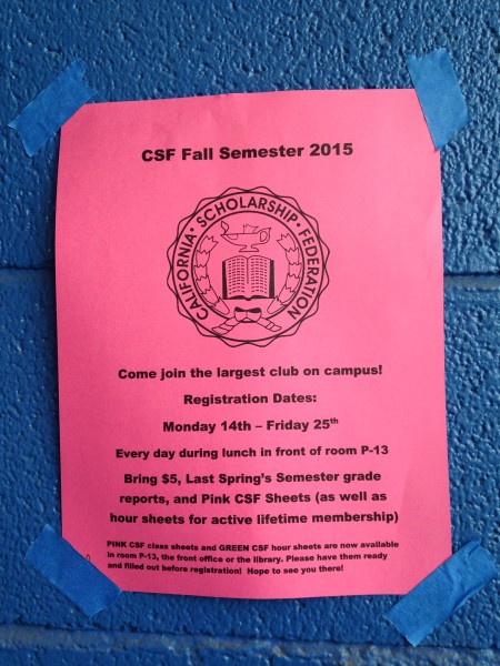 Signs are put up on blue walls at Davis High to promote CSF.