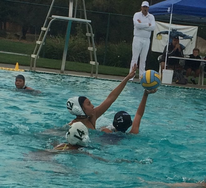 Photo caption: Junior Carissa Hernandez, number 17, looks for an open teammate at Wednesday's water polo game against Monterey Trail.