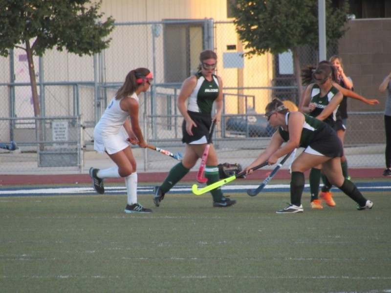 DHS varsity inserter Cara Satre (25), fights for the ball in the first half of the game on Sept. 9.