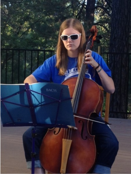 Madeline Ver Wey plays her cello in style.