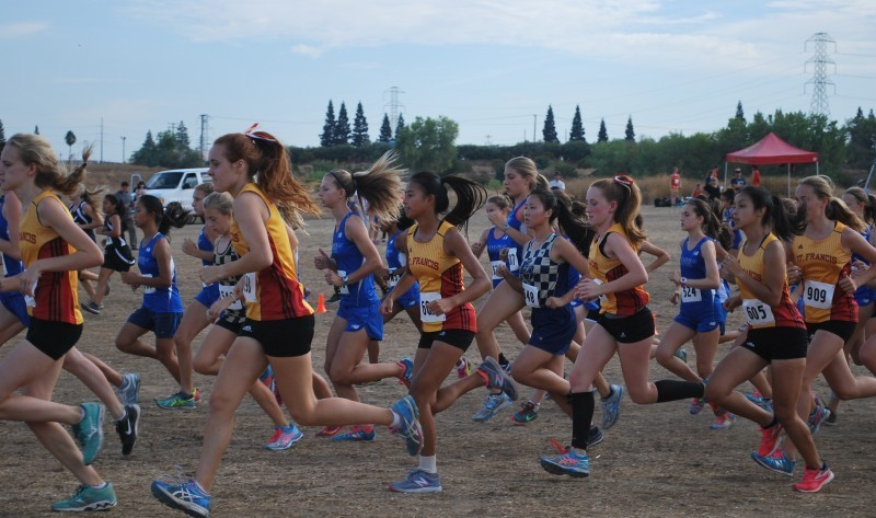 The Blue Devil frosh/soph women stampede across the dusty starting line. The team topped St. Francis and all other schools to win the race.